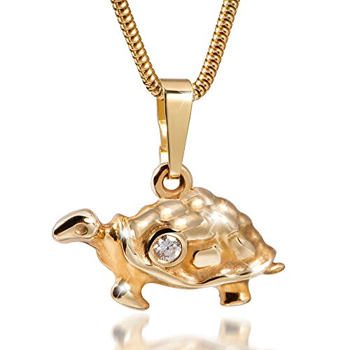 MATERIA 45cm Schlangenkette & 333 Gold Kettenanhänger Schildkröte mit Zirkonia inkl. Box #GKA-21_K126-45cm