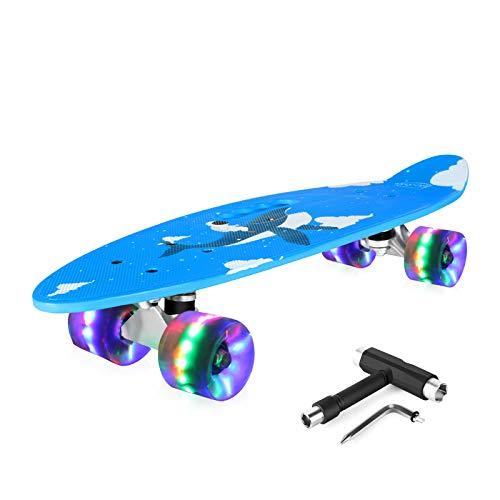 BELEEV Skateboard 24 Zoll Komplette Mini Cruiser Retro Skateboard für Kinder Jugendliche Erwachsene, LED Leuchtrollen mit All-in-One Skate T-Tool für Anfänger (Ocean Blue)