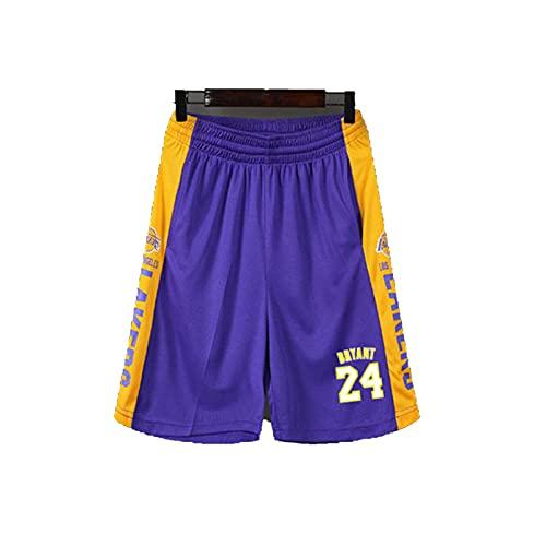 ERPA Pantalones cortos de baloncesto para hombre de 24 # Bry-nt, para exteriores, sueltos y transpirables, se pueden llevar con leggings, con bolsillos laterales con cordones, color morado, XXXXL