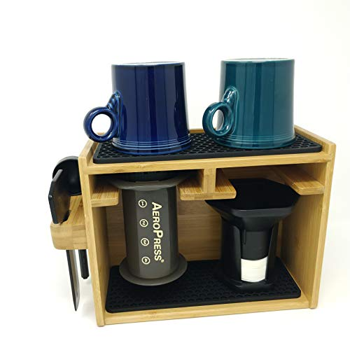 Bamboo Organizing Caddy compatible with AeroPress Coffee Maker- includes storage location for Aero Press stirrer filters and spoon Craft Brew Sustainably Sourced - Accept No Substitutes NPLninja