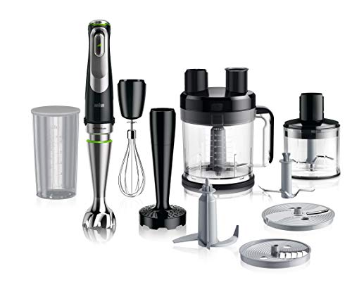 Braun MultiQuick 9 Frullatore ad Immersione, Miniprimer, Tecnologia Active PowerDrive, Bicchiere BPA Free Multifunzione Capacità 0.6L, 1200W, MQ9187XLI, Nero