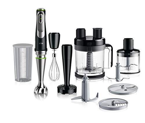Braun MultiQuick 9 MQ 9187XLI Stabmixer – mit Active PowerDrive, inkl. Pürierstab, XL Küchenmaschine, Gemüsestampfer, Ice-Crusher & Schneebesen, 1200 Watt, schwarz/Edelstahl