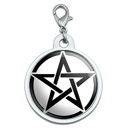 Graphics and More Pentagram - Wicca Witch Large Chrome Plated Metal Pet Dog Cat ID Tag