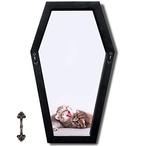 Heavy Rustic Coffin Mirror with Small Decorative Handles(Upgraded), Decent Wide Frame Matte Black Hexagon Mirror, Gothic Decor for Wall - Large and Sturdy - Weights About 3.5 Lbs, 21 Inches Tall
