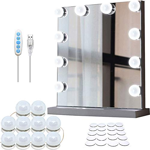 Rack & Pack Juego de Focos Autoadheribles Luces Led para Espejo Maquillaje Tocador Baño Alcoba Camerino 10 Leds Control 5 Tonos Intensidad Variable Estilo Hollywood