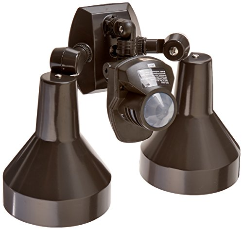 RAB Lighting STL360H Super Stealth 360 Sensor with Twin Precision Die Cast H101 Deluxe Shielded Bell Floods, 360 Degrees View Detection, 1000W Power, 120V, Bronze Color