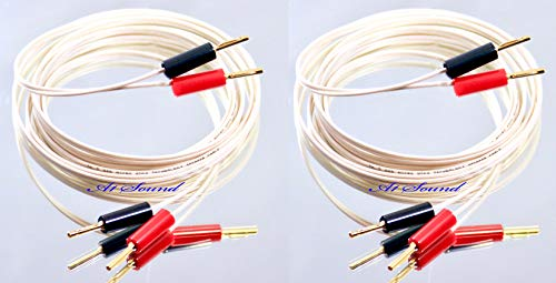 Two Cables Terminated Gold Plated 4mm Banana Plugs On All Ends 8 Plugs In Total QED Profile 79 Strand White Speaker Cable 3.5 Metre Pair