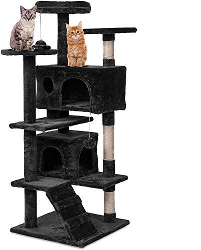 Weico Premium Katzen Kratzbaum mit Sisal - Kletterbaum mit Kuschel und Spielmöglichkeiten - Katzenkratzbaum in schwarz - Spielbaum mit Plattformen und Spielmöglichkeiten (schwarz)