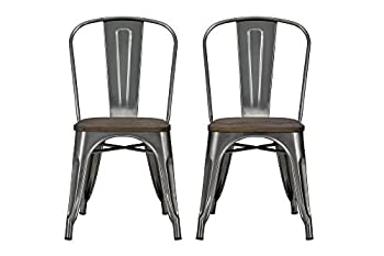 DHP Fusion Metal Dining Chair with Wood Seat Distressed Metal Finish for Industrial Appeal Set of two Antique Gun Metal