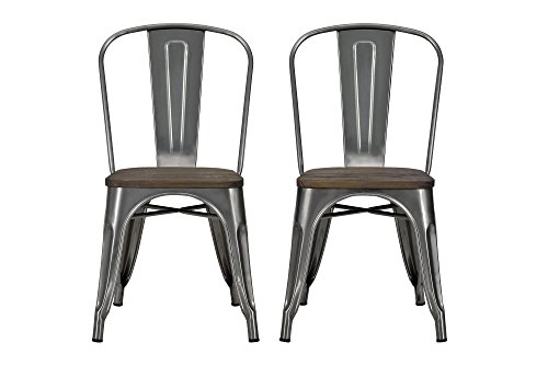 DHP Fusion Metal Dining Chair with Wood Seat, Distressed Metal Finish for Industrial Appeal, Set of...