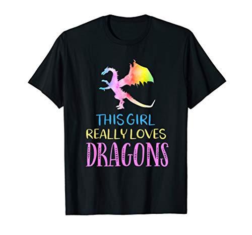 Cute Dragon Gift Girl Loves Dragons Gift Rainbow T-Shirt