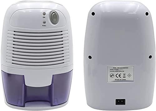 HTTMT- 500ml Electric Portable Dehumidifier w/ Auto Shut Off For 1200 Cubic Feet (215sq ft) Home Bedroom Bathroom Basement Trailer RV [P/N: ET-HOME003-WHITE]