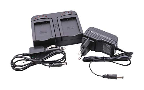 vhbw Ladegerät mit Kfz-Lader dual 2-Fach passend für Aiptek PocketCinema T10, T15, T30, V10, V10 Plus, V20