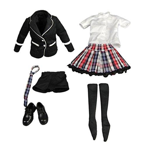 Unbekannt Maßstab 1/6 Frauen Weibliche Kleidung Schwarz Schuluniform Für 12 Zoll Figur