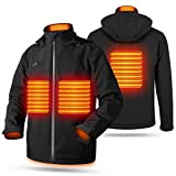 Nomakk Men's Soft Shell Heated Jacket with Detachable Hood, Independent heating zone control