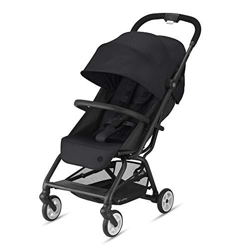 Cybex Gold Eezy S 2 Kinderwagen, Einhand-Faltmechanismus, Leichtgewicht, Ab Geburt bis 22 kg (ca. 4 Jahre), Deep Black mit schwarzem Gestell, 520001597