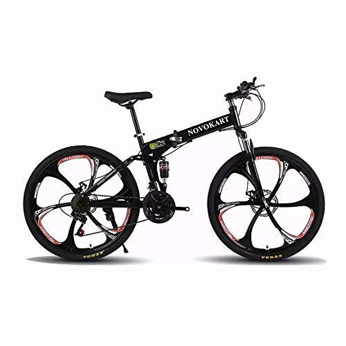Mountain Bike Pieghevole per Studenti e Giovani,Bicicletta Sportiva da Montagna Adolescenti, MTB con 24-Stage Shift, 24 Pollici 6 Taglierina, Nero