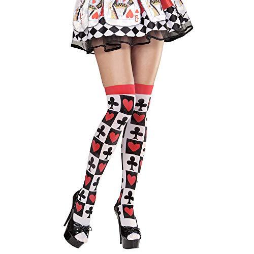 Widmann 01298 – Überkniestrümpfe, mit Pokermuster, Einheitsgröße, Socken, Kniestrümpfe, Strumpfware, Clown, Zirkus, Fantasie, Märchenwelt, Motto Party, Karneval
