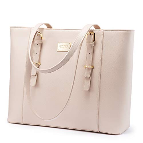 LOVEVOOK Laptop Bag for Women, Structured Leather Computer Bag, Professional Work Tote Purse, Teacher/Attorney's Choice, Light-Pink