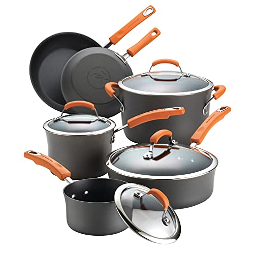 Rachael Ray Brights Hard-Anodized Aluminum Nonstick Cookware Set with Glass Lids, 10-Piece Pot and Pan Set, Gray with Orange Handles