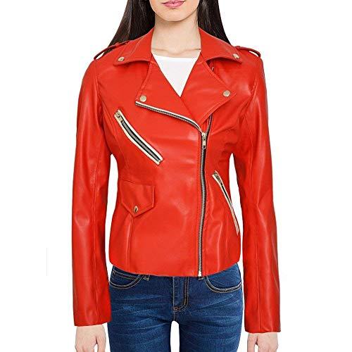 Chaqueta de piel para motocicleta para mujer – Colección asimétrica de chaqueta de piel para motorista