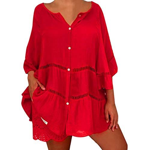 QinMMROPA Blusa Hueca de algodón y Lino para Mujer Camiseta Botones con Cuello en V y Tallas Grandes Camisa Suelta Casual Rojo XL