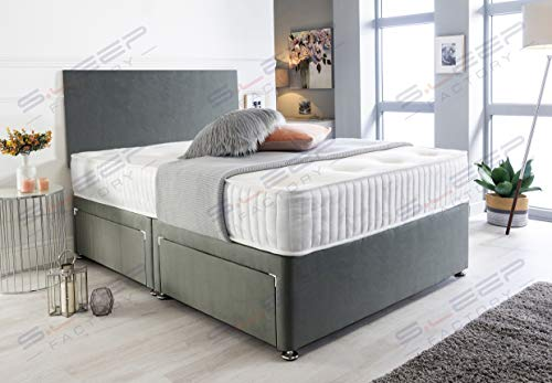 Sleep Factory's Charcoal Suede Memory Foam Divan Bed Set With Mattress And Headboard 3ft 4ft 4ft6 5ft 6ft Single Double Small UK King Super King (4.6FT (Double), 2 Drawers Same Side)
