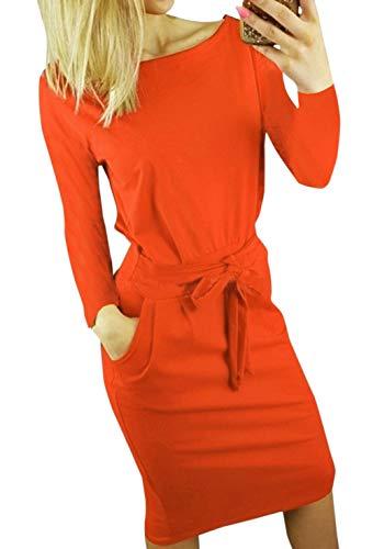 Ajpguot Ajpguot Damen Freizeit Kleid mit Gürtel Elegant Rundhals Midi Kleider Blusenkleider Ballkleid Festkleid Frauen Langarm Tasche Wickelkleider Abendkleider Partykleid, Rot, XL