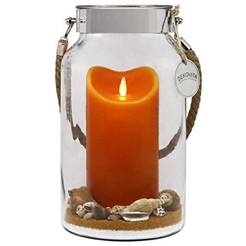 Dekovita Geschenkidee 30cm Dekoglas LED-Echtwachs Kerze orange m bewegter Flamme u Deko-Sand Ostern Muttertag Geburtstag