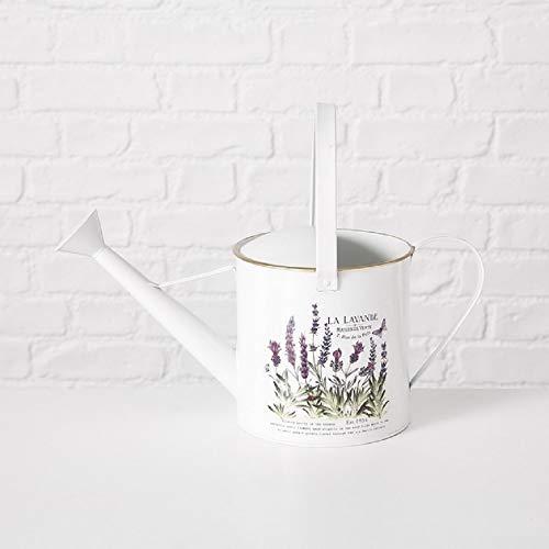 Home Collection Deko Gießkanne Lavendel, Blumentopf Vintage Landhausstil, L29cm Weiss Zink 3 Liter Fassungsvermögen