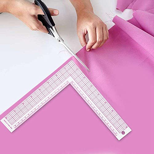 YuKeShop Regla de medida de costura de plástico en forma de L cuadrada de 90 grados de curva francesa medida de costura Pro Tailor Craft Tool Dibujo costura para la modista del hogar