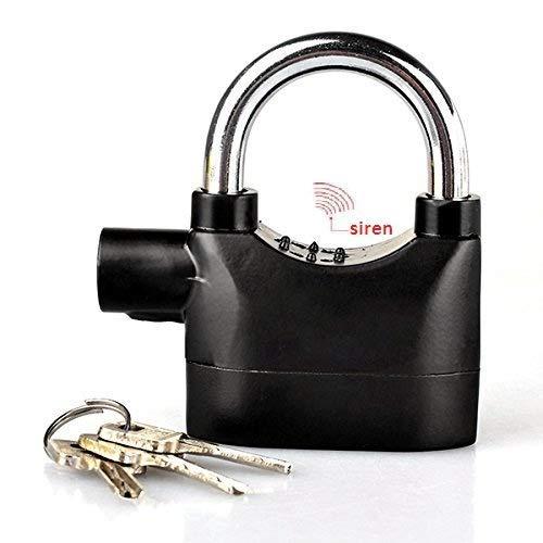 OVIOL Steel Alarm Lock high Security Design Sensor Heavy Duty Siren Alarm Padlock for Home, Office, Bikes (Color:-Black)
