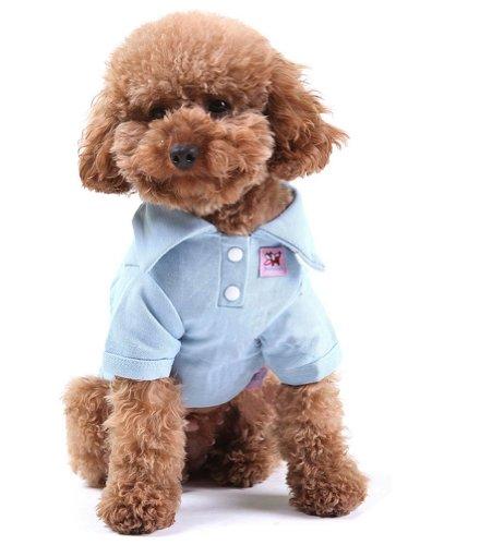 confortable Coton Polo pour chien Pet Chiot Vêtements Vêtements pour animaux Apparel (Bleu, SM)