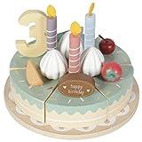 Tiamo Little Dutch 4474 Holz Torte Geburtstagskuchen mit Zahlen und Kerzen Ø 16 cm