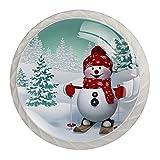 Tiradores de gabinete de setas de muñeco de nieve de invierno de 1,18 pulgadas, transparentes para cocina, 4 piezas