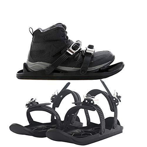 Lucakuins Outdoor Skiing Mini Sled Mini Snowboard Sled Shoes Anti-Slip Foot Panels Snow Board Ski Boots Outdoor Skiing Winter Sports Equipment (Black)