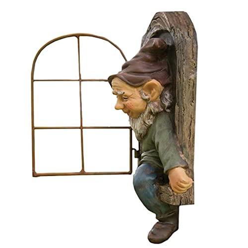 Enano de jardín resistente a la intemperie, estatua de jardín, árbol de resina, figuras de jardín, decoración de árbol, escultura de árbol, decoración de jardín