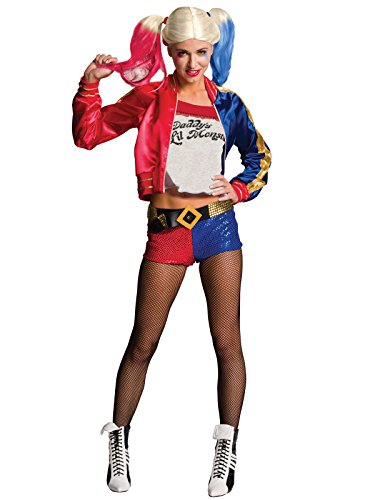 Suicide Squad Costume Harley Quinn 4 Pezzi - Rosso, Blu - M