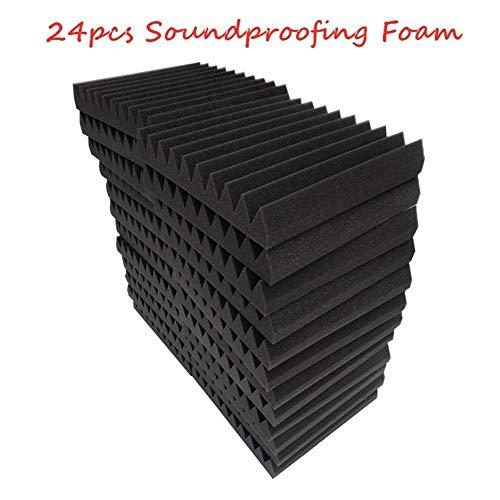 ohne Xxf-gyb 24 Stück schwer entflammbare Schalldämmung Schaumstoff Akustikschaum Schallbehandlung Studio Raum Absorption Keil Fliesen PU 30 x 30 x 5 cm