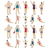 Healifty 20pcs Beach Swimsuits People Figures Miniature People Figures Painted Model Figures 1:100 and 1:75