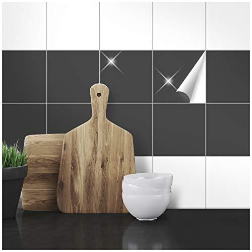 Wandkings Fliesenaufkleber - Wähle eine Farbe & Größe - Anthrazit Glänzend - 15 x 15 cm - 20 Stück für Fliesen in Küche, Bad & mehr