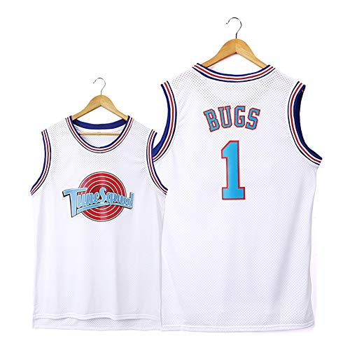 Bugs #1 Space Jam Movie playera de baloncesto para hombres, camisetas de baloncesto, camiseta deportiva sin mangas, camiseta de malla (S-2XL)