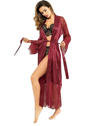 Damen Schlafanzug Sexy Lace Robe Damen Kimono Bademantel Sexy Nightgown Exclusive Honeymoon Pyjamas - Wine Red_XXXL