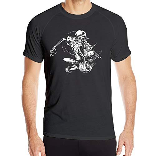 UKFaaa Herren T-Shirt mit Totenkopf-Motiv, Dry-Fit, Feuchtigkeitstransport, aktiv, sportlich, Performance, Crew, Größe XL, Schwarz