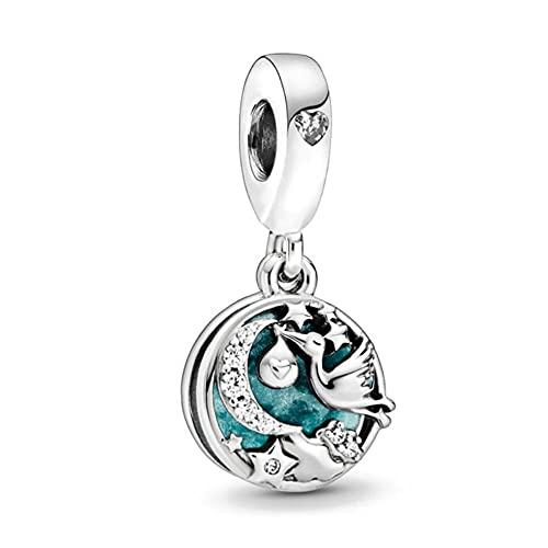 Mmxhn Cuentas de plata de ley 925 deslumbrantes con forma de corazón de mariposa rosa para pulseras Pandora