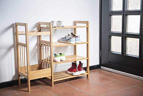 Zapatero de 4 estantes con soporte para sombrilla, 72 x 64 x 27 cm, adecuado para entrada, muletas de bambú