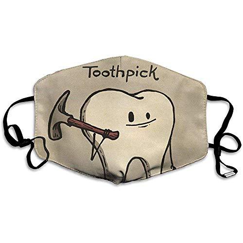 Jonycm Mouth Masks patroon tandenstoker mooie druk, stofdicht, unisex, wasbaar, modieus design, herbruikbaar buitenshuis, kleurrijk
