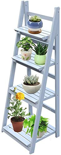ROXTAK Escalera para plantas, soporte para flores, 4 niveles, de madera, plegable, banco para plantas, estantería para flores, estantería para jardín, estantería de escalera, para jardín, salón