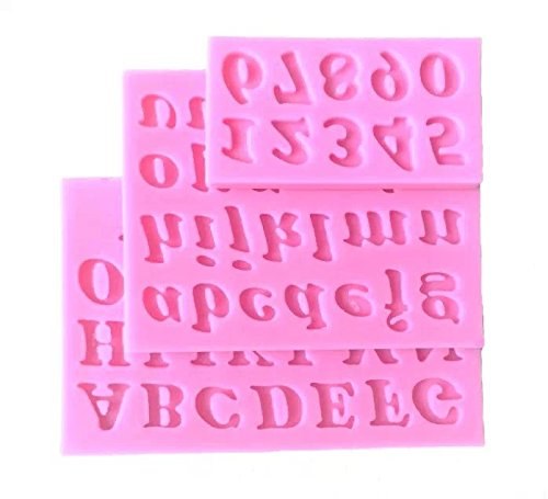 Goliton® - Stampo in Silicone con Lettere e Numeri, 3 Pezzi, Colore: Rosa