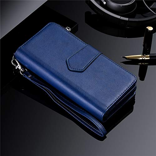 DingSORA Cases Magnetic Case for Samsung S20 Ultra S10 S9 S8 Plus Note 20 10 9 8 Leather Wallet Card Cover for iPhone 11 Pro XS Max XR 8 7 Case (Color : Blue)